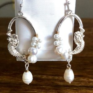 Custom Sterling Silver Pearl Mermaid Earrings New